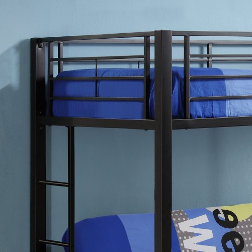 Twin Over Futon Metal Bunk Bed, Black (Box 1)