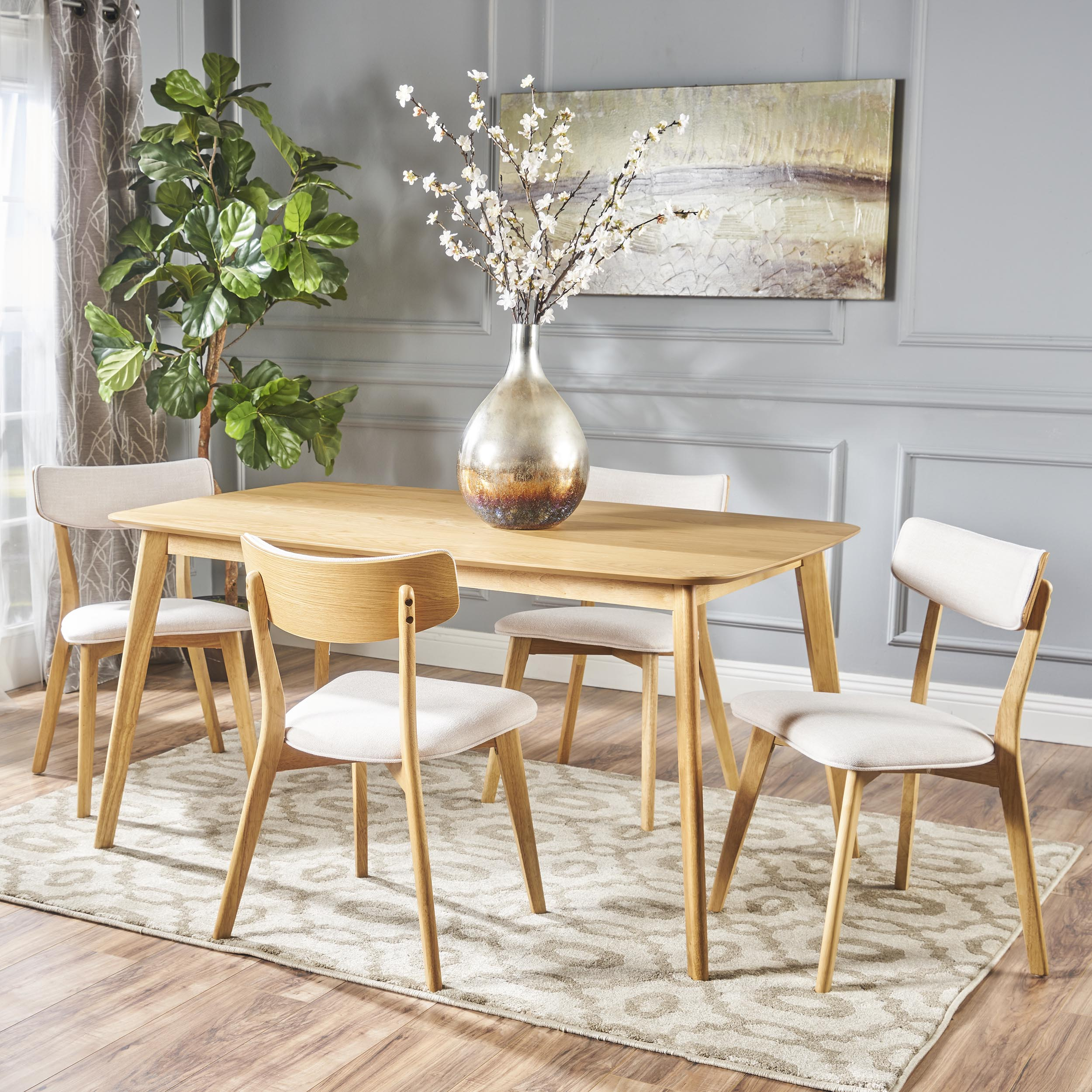 Noble House Lucca Mid Century Modern Wood 5 Piece Dining Set, Natural Oak, Beige
