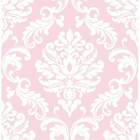 NuWallpaper Pink Ariel Peel & Stick Wallpaper