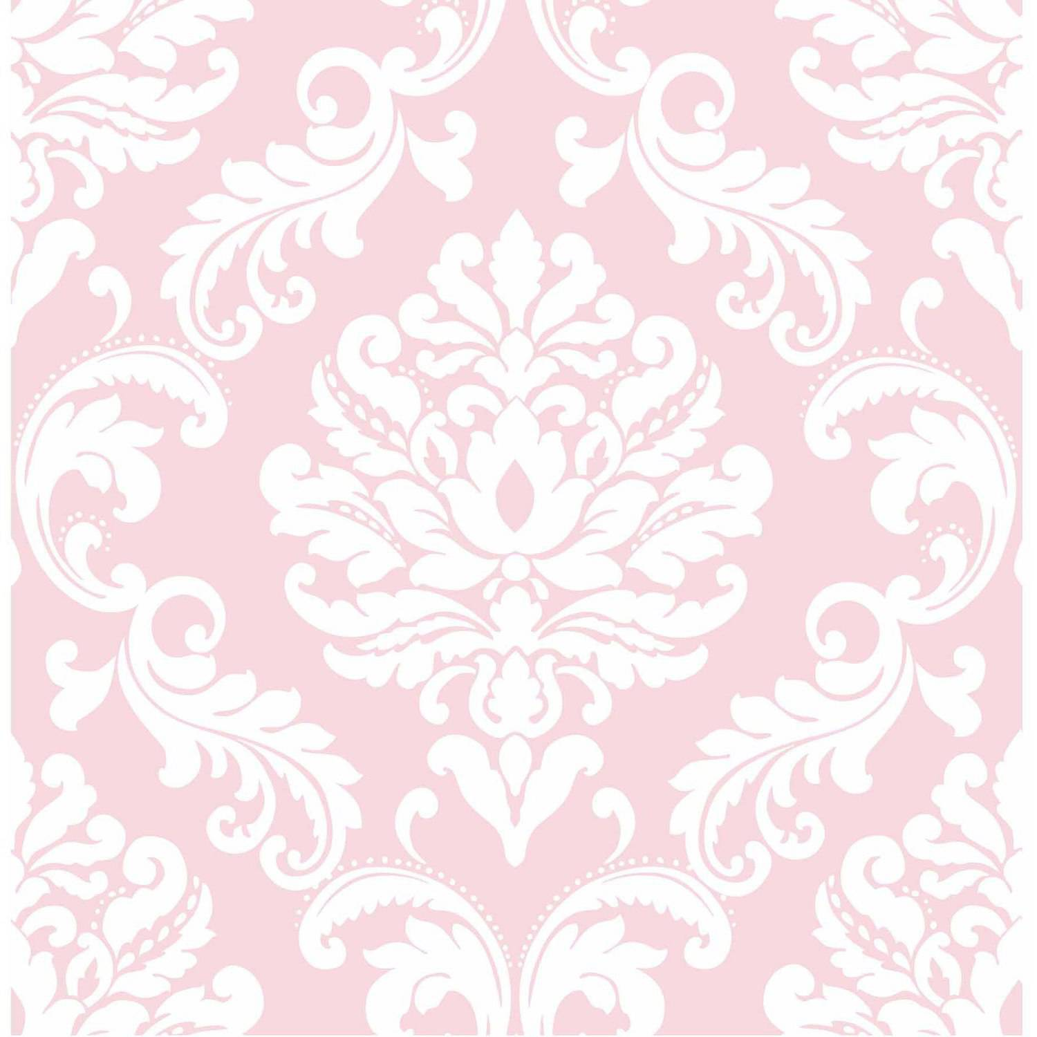 NuWallpaper Pink Ariel Peel and Stick Wallpaper