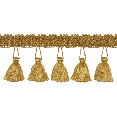 2.5 Inch Tassel Fringe Trim, Style# ETF Color: GOLD - C4,  Sold By the Yard
