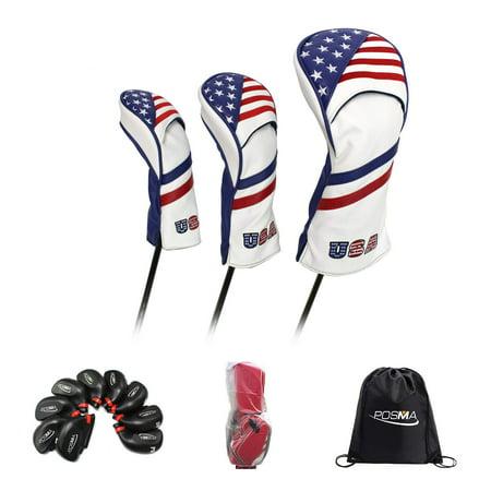 6e75f1f609ae POSMA CC060G Golf PU Leather Club Head Cover Set with Plastic Iron Club  Head Cover + Clubs Bag Rain Cover + Carry bag