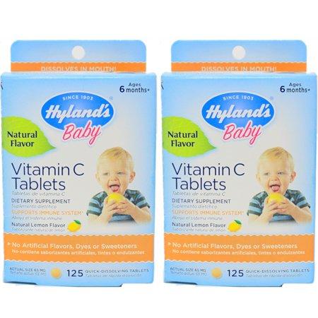 2 Pack Hyland's Baby Vitamin C Tablets, Natural Lemon, 125 Tablets, 65mg (65mg Tabs)