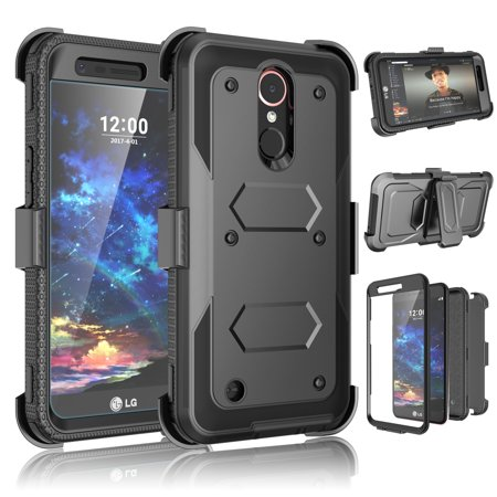 Tekcoo Cases For LG K30 / K10 2018 / Harmony 2 / Phoenix Plus / Premier Pro LTE / K30 Plus Holster Belt Clip, [Built-in Screen] Locking Secure Swivel Belt Kickstand Phone Cover Full Body Case Cover