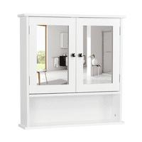 Wooden Bathroom Wall Mount Medicine Cabinet with Mirror Doors Adjustable Shelf