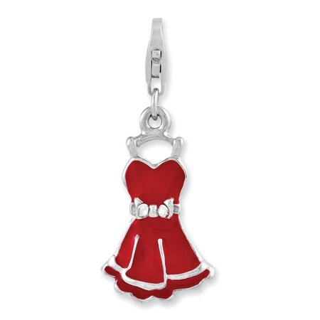 Sterling Silver Rhodium-plated Cubic Zirconia Enameled Dress With Lobster Clasp Charm