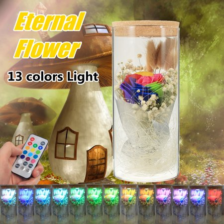 LED Eternal roseflower Flower Light Enchanted Rose Lamp Real Preserved Romantic Beauty Gift for Valentines Day Wedding Mother's Day Women (The Best Way To Preserve A Rose)