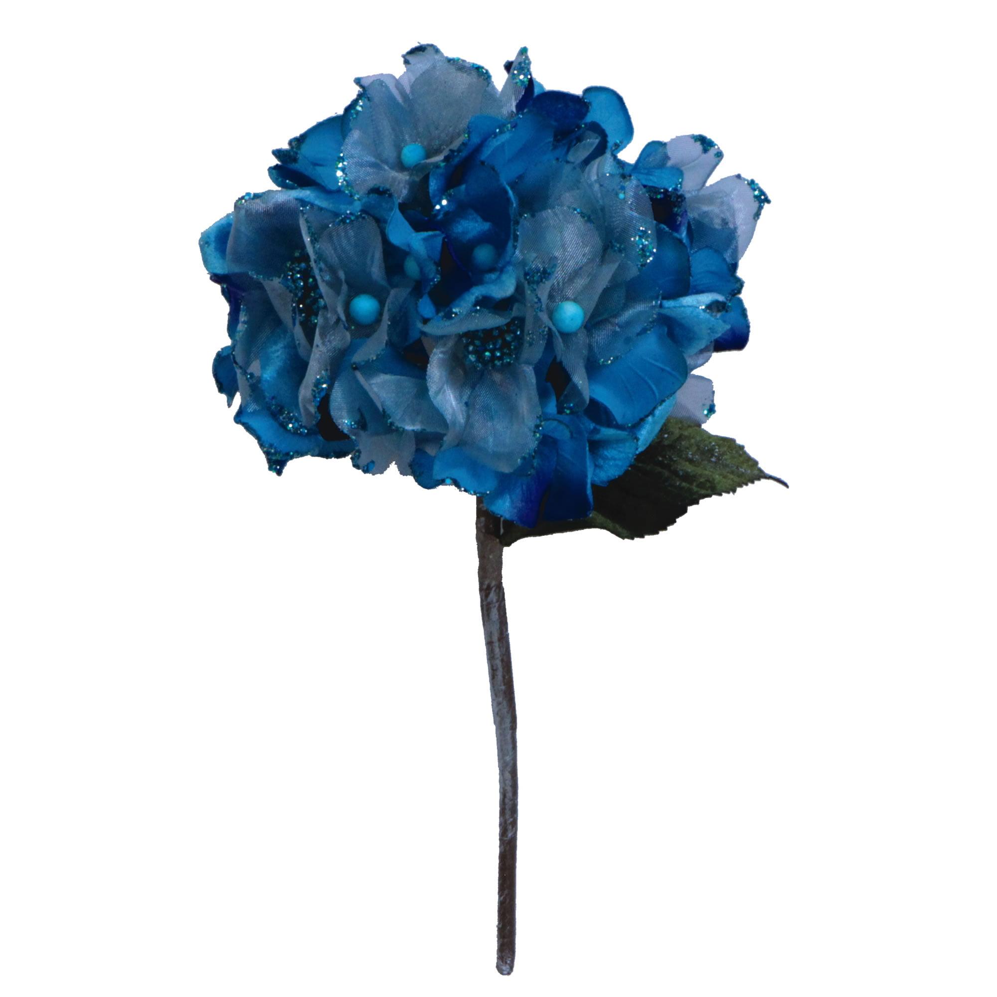 "Vickerman 29"" Aqua Velvet Hydrangea 7"" Flower"