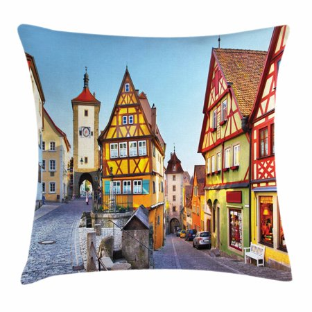 German Throw Pillow Cushion Cover, Rothenburg ob der Tauber Bavaria Germany Famous Street with Colorful Classic Houses, Decorative Square Accent Pillow Case, 20 X 20 Inches, Multicolor, by Ambesonne