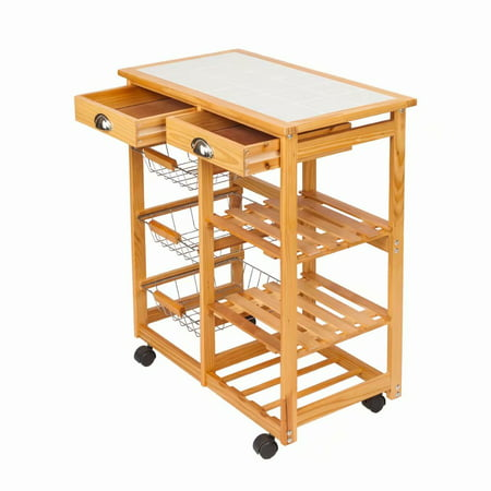 Clearance! Kitchen & Dining Room Cart 2-Drawer Removable Storage Rack with  Rolling Wheels Wood Color