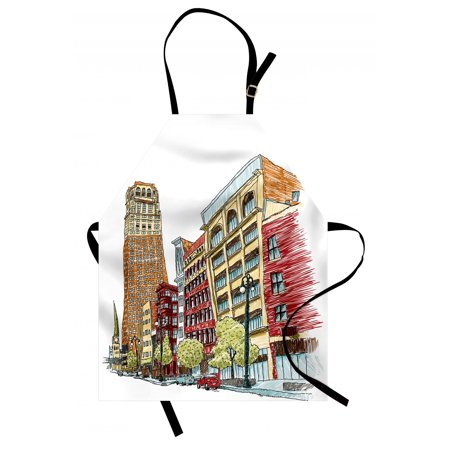 Detroit Apron Buildings on Woodward Avenue in the Downtown Detroit Artistic Sketchy Urban Scene, Unisex Kitchen Bib Apron with Adjustable Neck for Cooking Baking Gardening, Multicolor, by Ambesonne ()