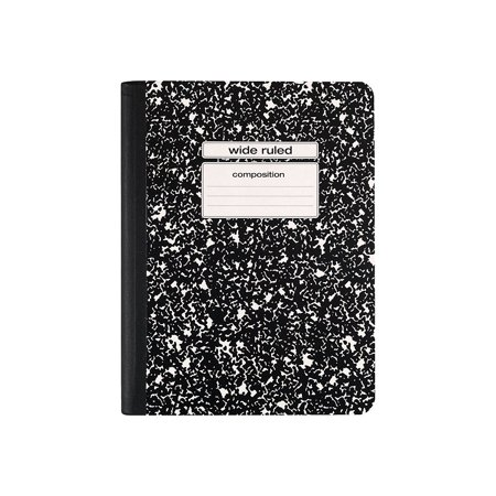"Staples Composition Notebook, Wide Ruled, Black, 9-3/4"" x 7-1/2"""