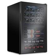 Ivation 43 Bottle Dual Zone Wine Cooler Refrigerator w/Lock | Large Freestanding Wine Cellar For Red, White, Champagne & Sparkling Wine | 41f-64f Digital Temperature Control Fridge Glass Door Black