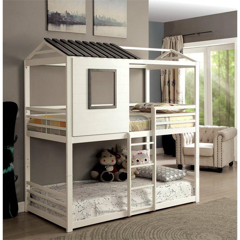 Furniture Of America Nesta Wood House Metal Twin Over Twin Bunk Bed In White Walmart Canada