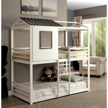 Furniture of America Nesta House Twin over Twin Bunk Bed in White (Tree House Bunk Bed)