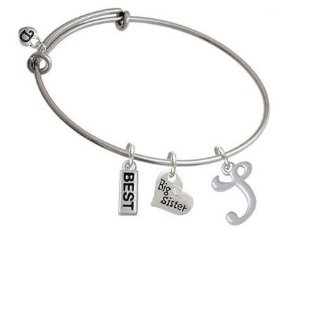 Small Gelato Script Initial   S   Big Sister Heart Expandable Bangle Bracelet