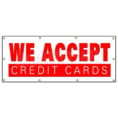 36 X96  We Accept Credit Cards Banner Sign Visa Mastercard Debit Discover