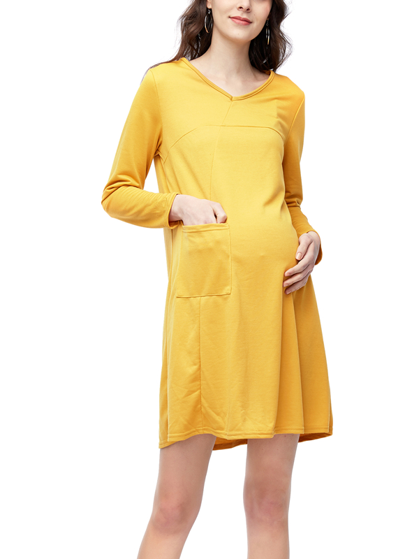 Maternity Long Sleeve V-Neck Loose Pregnancy Dress