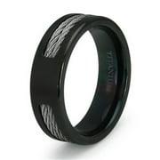 Titanium Kay Black Titanium Double Cable Comfort Fit Mens Wedding Band Ring Sz 10.0