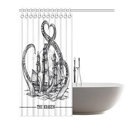 GCKG Giant Octopus Kraken Shower Curtain Hooks 66x72 inches Black White Fabric Giant Octopus Kraken Attacks Sailing Ship Ocean Sea - image 2 of 3