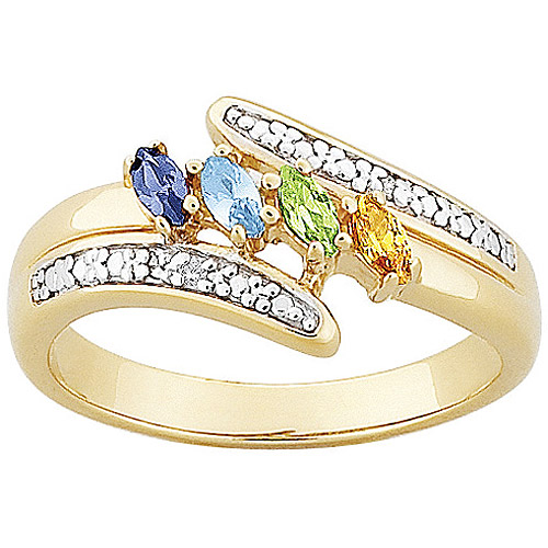 Personalized Sterling Silver or 18K Gold over Silver Marquise Birthstone & Diamond Accent Mother's Ring by Generic