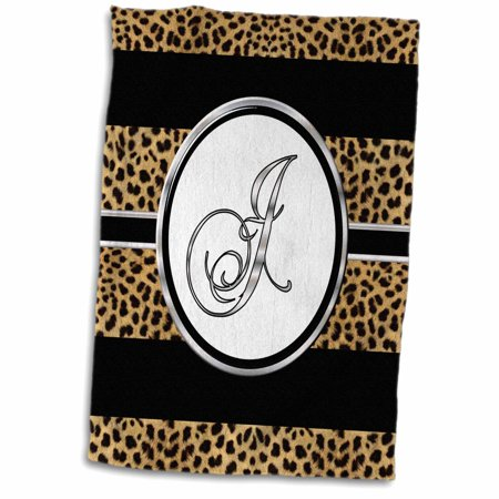 Cheetah Bath - 3dRose Elegant Cheetah Animal Print Monogram Letter J - Towel, 15 by 22-inch