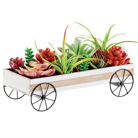 Succulent Wagon Decorative Arrangement Tabletop, Mantel, or Counter Decoration for Any Room in Home - Christmas Mantel Decorating Ideas