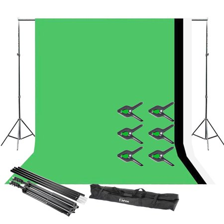 UBesGoo New 10Ft Adjustable Background Stand Kit For Photography with 3 color Backdrop (Multiple Background Stand)