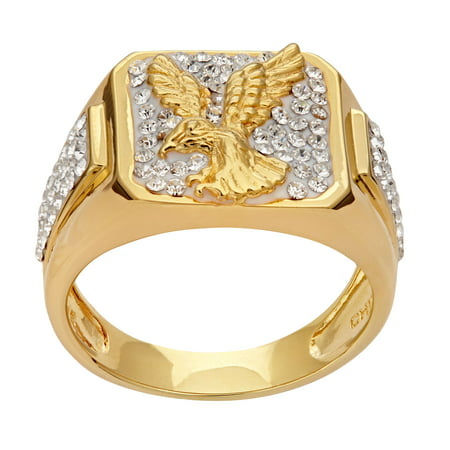 Men's Crystal Accent with Landing Eagle Ring in 18K Gold over Sterling Silver, Size -