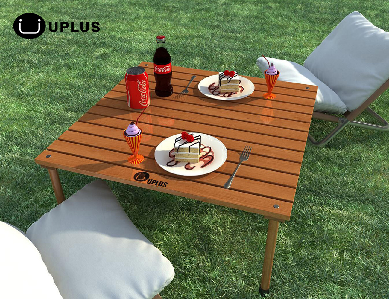 Foldable Table    UPLUS Outdoor Portable Folding Picnic Beach Teak Wood  Camp Table With Free Table ...