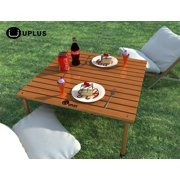 Foldable Table -- UPLUS Outdoor Portable Folding Picnic Beach Teak Wood Camp Table with Free Table Cloth and Carrying Bag -- Folding Table in a Bag for Picnic, Camp, Beach, Boat,backyard parties,etc