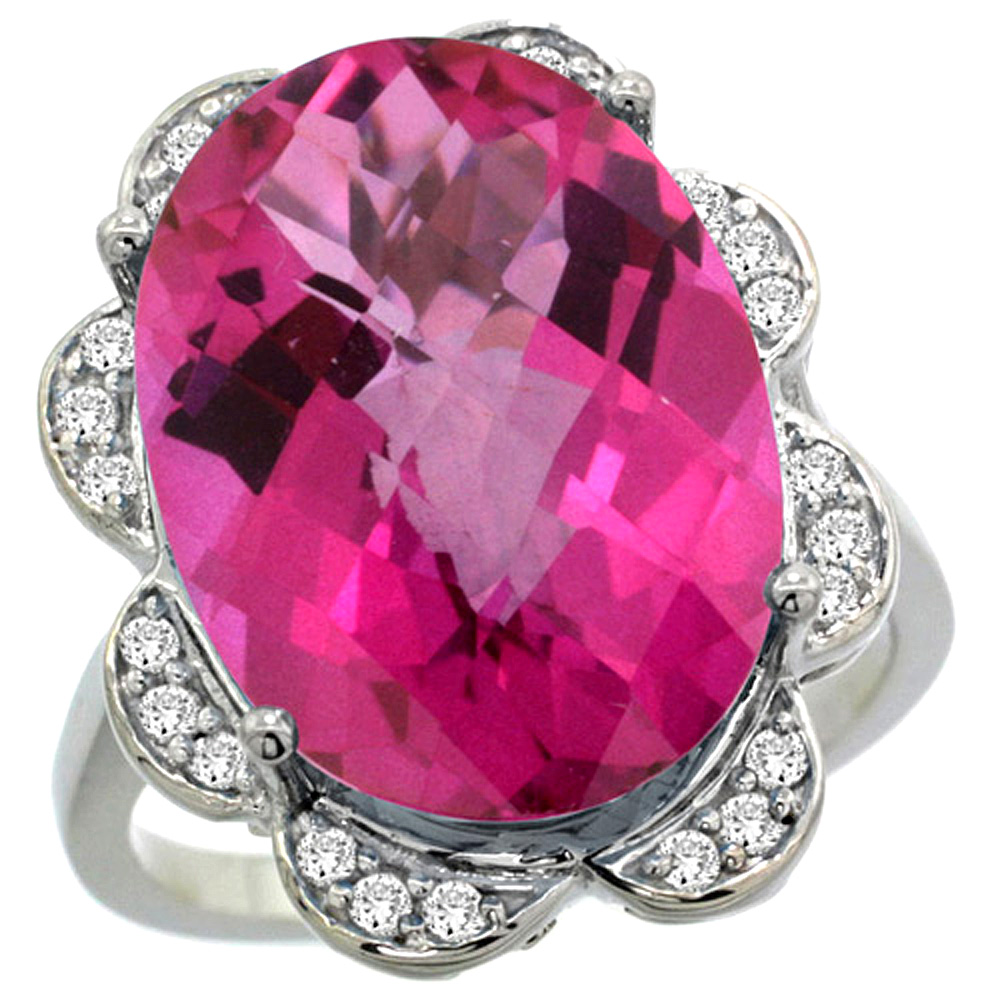 14k White Gold Natural Pink Topaz Ring Oval 18x13mm Diamond Floral Halo, 3 4inch wide, size 5 by Gabriella Gold