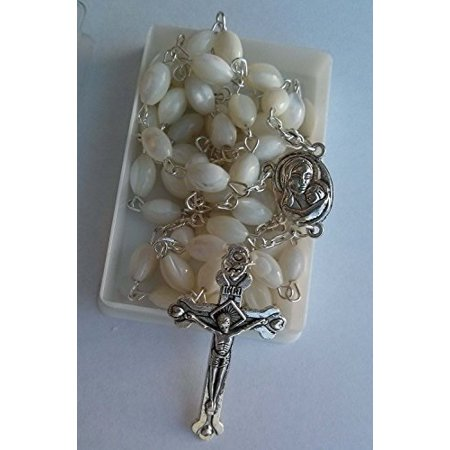 Garnet Mother Of Pearl (mother of pearl rosary cross with mary medal and holy soil from jerusalem)