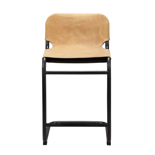 Moes Home Collection PK 1072 Baker 35 Inch Tall Iron Kitchen Stool With  Leather Upholstery