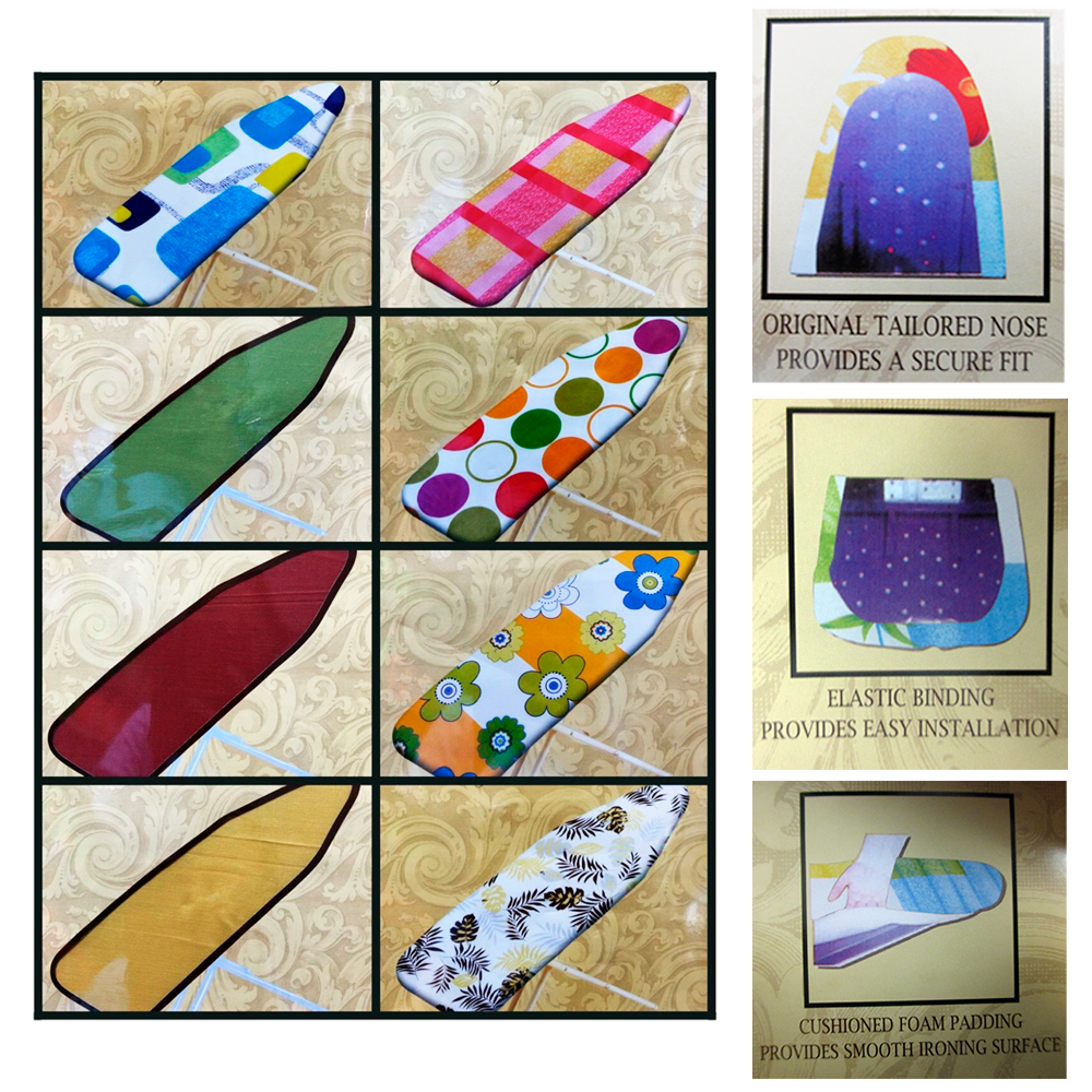 """1 Ironing Board Cover Foam Cushioned Pad Scorch Heat Resistant 54"""" Iron Surface by BETTER HOME PLASTICS"""