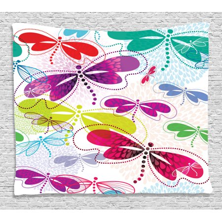 - Country Decor Tapestry, Modern Dragonfly Floral Pattern Hydrangea Petals Like Fireworks Colorful Graphic, Wall Hanging for Bedroom Living Room Dorm Decor, 60W X 40L Inches, Multi, by Ambesonne