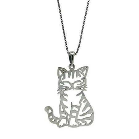 - Sterling Silver Cat Pendant Chain Necklace (W/ 18 Inch Chain)