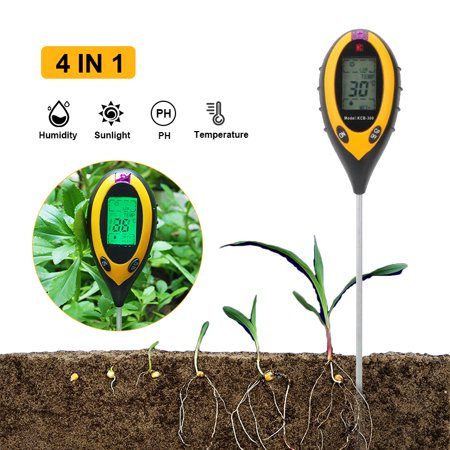 Soil Tester Digital Display 4 In1 PH Meter Temperature Moisture Humidity Sunlight Tester for Agriculture Plants Flowers, Garden, Lawn, Farm, Indoor Outdoor Use, Promote