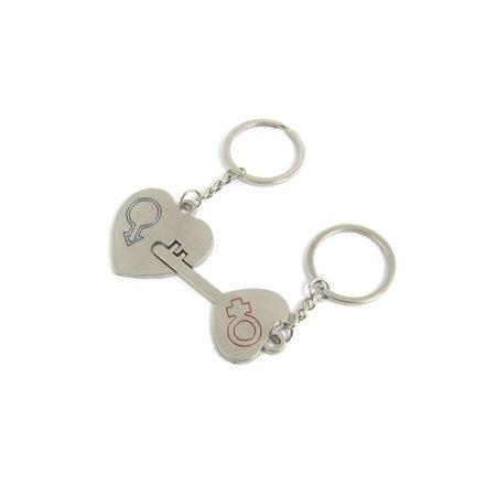 Gender Symbol Engraved Couples Heart Lock Key Ring 2 Pcs