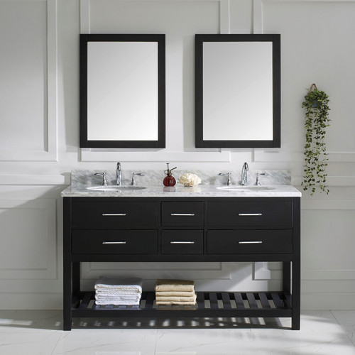 VIRTU USA  Caroline Estate 60-inch Round Double Bathroom Vanity Set with Faucets