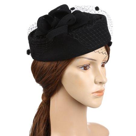 985ef802256 Fitbest Women Fascinator Hat Trendy Pillbox Hat Vintage Derby Wedding  Billycock Fashionable Bowler Hat Elegant Flower Veil Wedding Hat with Elastic  String