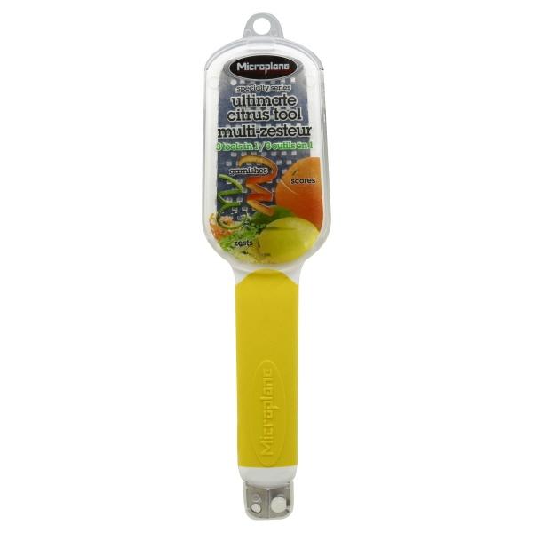 orange Microplane Ultimate 3-in-1 Specialty Citrus Tool Zester Score Garnish