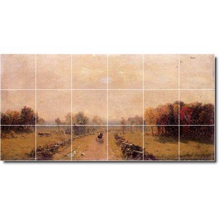 Ceramic Tile Mural Sanford Gifford Country Painting 315 36 w x 18 h u