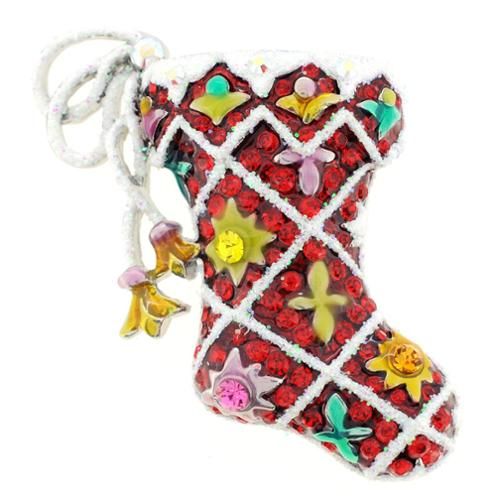 Fantasyard Silvertone Multi-colored Crystal Christmas Stocking Brooch by Overstock