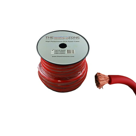 1/0 AWG 0 Gauge 50 Feet High Performance Flexi Amp Power/Ground Cable Wire Red
