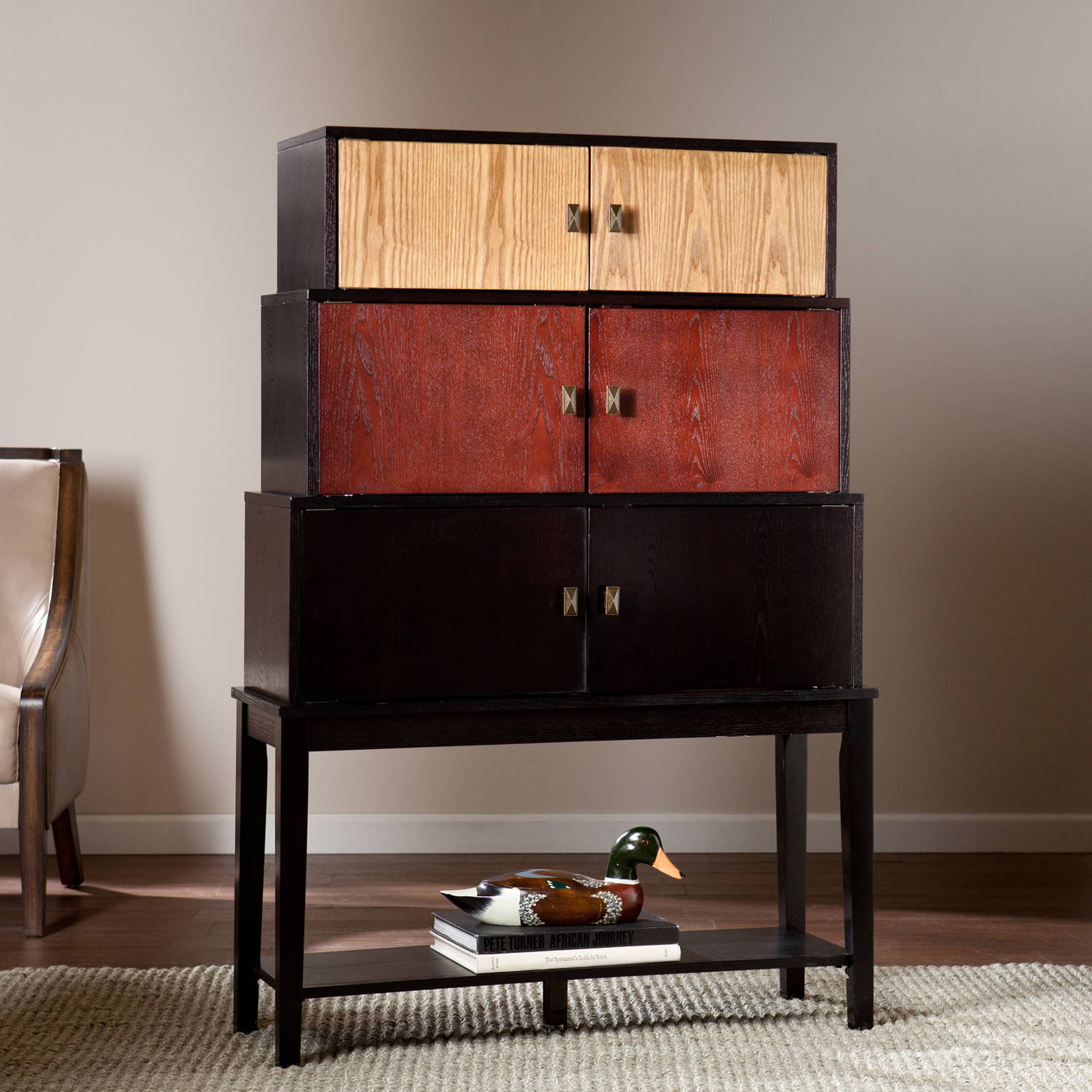 Southern Enterprises Wayman Tiered Storage Cabinet, Ebony and Espresso