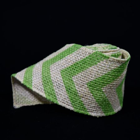 Quasimoon Burlap Fabric Wrap Roll w/ Apple Green Chevron Pattern (2.4 x 6 Ft) by - Green Burlap