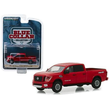 2018 Nissan Titan XD Pro-4X Pickup Truck Metallic Red 1/64 Diecast Model Car by Greenlight