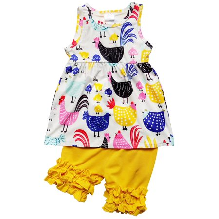 So Sydney Girls Toddler Deluxe Novelty Ruffle Summer Boutique Shorts Outfit (Boutique For Toddlers)