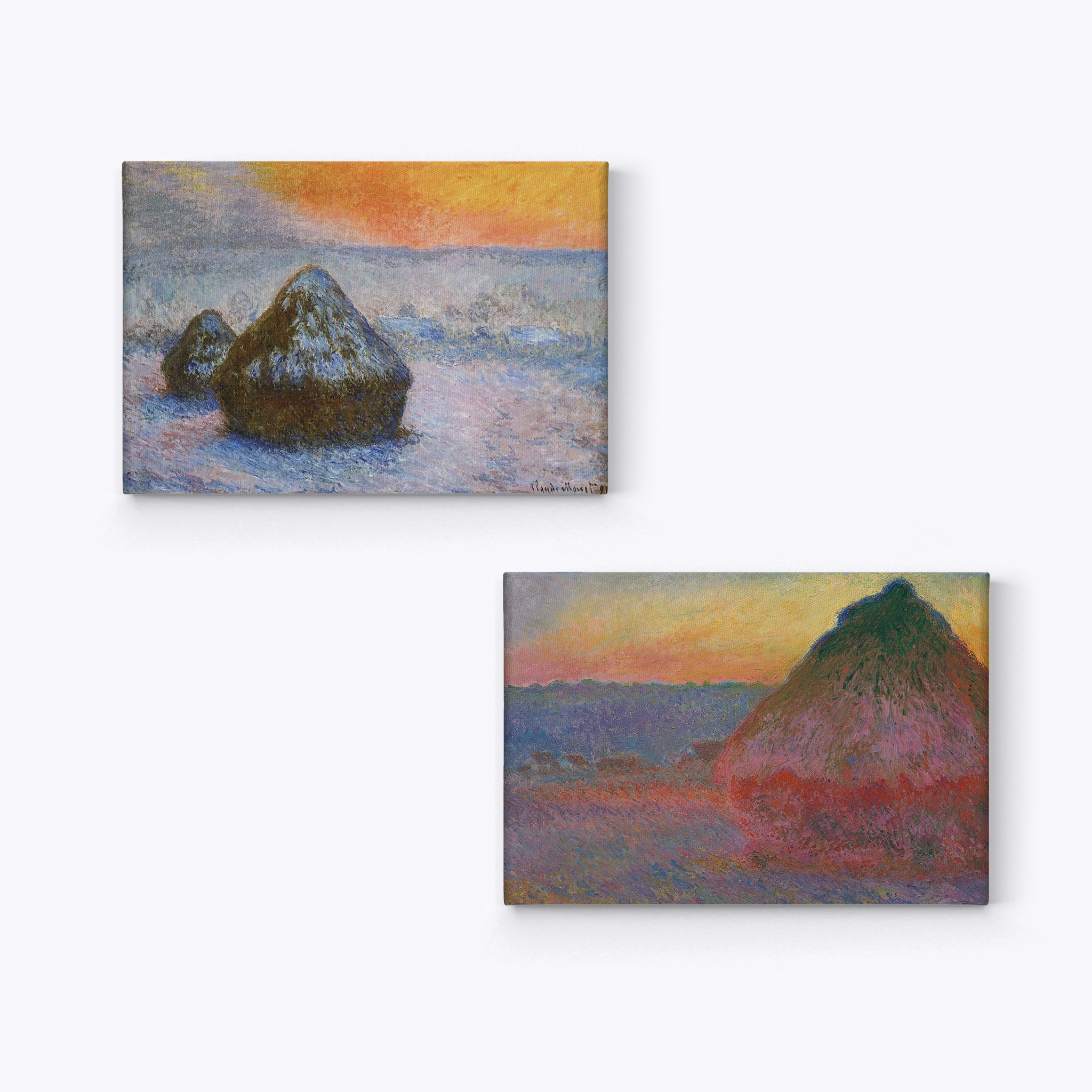 Smile Art Design Haystacks Series Wheatstacks Claude Monet 2 Piece Set Canvas Wall Art Canvas Print Famous Art Painting Reproduction Oil Paint Modern Art Home Decor Ready To Hang Made In Usa